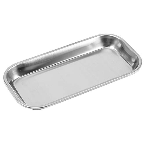 Akozon Edelstahl Tray, Dental 201 Nützliches Werkzeug für Klinik Lab Schalen Foodservice Tablett Serving Party Platten Dental Medical Flat Lab Snack Handtuch Instrument Tray