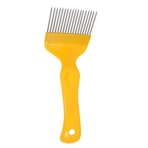 Balacoo Pettine dritto in acciaio inox con denti e forchetta da esplorazione, per api e miele, strumenti (giallo)
