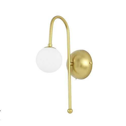Peggy Gu Sala de Estar Lámpara de Pared Habitación de Hotel Luz de Pasillo Sola Cabeza Lámpara de Pared Moderna Lámpara de cabecera Simple Lámpara de Pared (Color : Oro, tamaño : 110-220V)