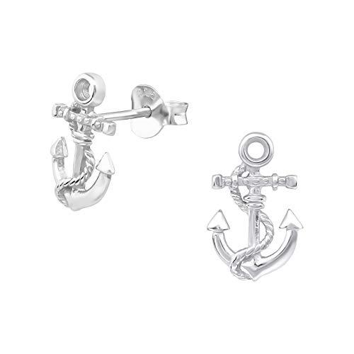 Laimons Damen-Ohrstecker Ohrringe Maritim Damenschmuck Anker 11 mm glanz matt Sterling Silber 925
