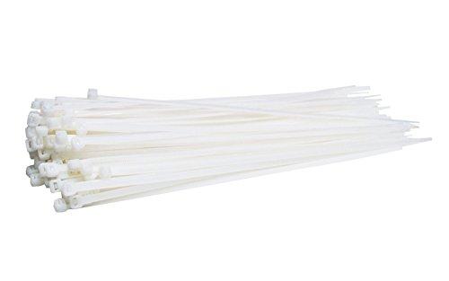 100 Stück Profi Kabelbinder Industriequalität weiß 368 mm x 4,8 mm für Industrie PC Fahrrad Nylon cable ties stark lang weiss 22,2 kg Zugkraft von Damstone