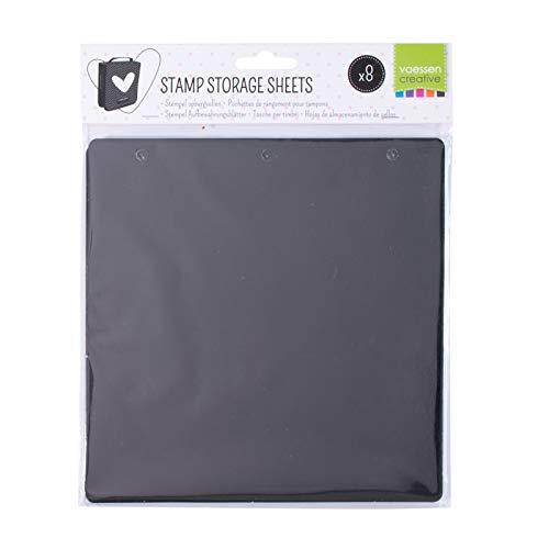 Vaessen Creative 600203-005 8 Schwarze Aufbewahrungsblätter für Stempel zum Aufbewahren, Sortieren und Mitnehmen von Clear Stamps, Gummistempeln und weiterem Bastelbedarf, 20 x 20 cm