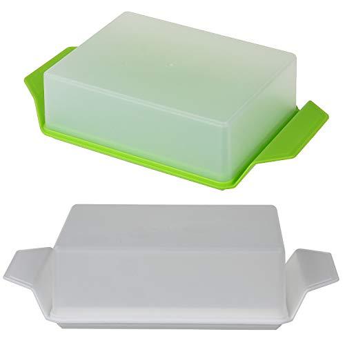 K & G 2 x botervloot met deksel wit groen boter, koelkast boterhouder boterbox opbergdoos