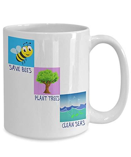 Onze Planet Aarde Mok Bewaar Bijen Plant Bomen Schone zeeën Environmental Gift idee gebruik maken van een Keramische niet styrofoam Cup voor Koffie Drankjes ijs c