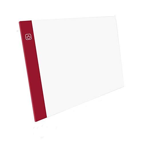 AMZSELLER Cajasy organizadores A5 Ultra-Thin Rawing Tablero Pad Animation Rastring Box Lightbox Tablet Tablet Lienzo con 3 Niveles de atenuación (Color : Red)