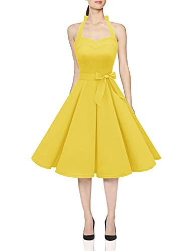 DRESSTELLS 50's Vintage Rockabilly Halter Neck Audrey Dress Retro Bridesmaid Belt Cocktail Swing Dress Yellow 3XL