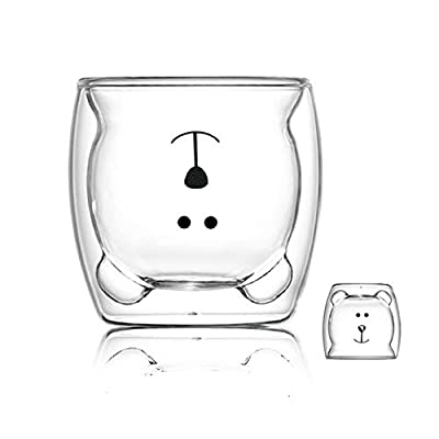 Cute Mugs Glass Double Wall Insulated Glass Espresso Cup, Coffee Cup, Tea Cup, Milk Cup, Best gift for Office and Personal Birthday (Happy bear)