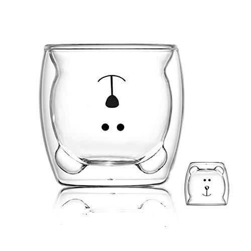 Taza linda Taza de café Taza de té Vasos Vasos con aislamiento de doble pared Taza de café Taza de leche, El mejor regalo para la oficina y cumpleaños personal (Oso feliz)