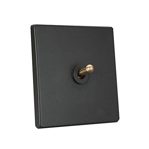 Tritow Interruptor Retro Hecho a Mano 1-4 Gang 2 vías Gris Interruptor de lámpara de Control Doble Individual Lámpara de Pared Interruptor de Palanca Interruptor de Palanca de latón nórdico para