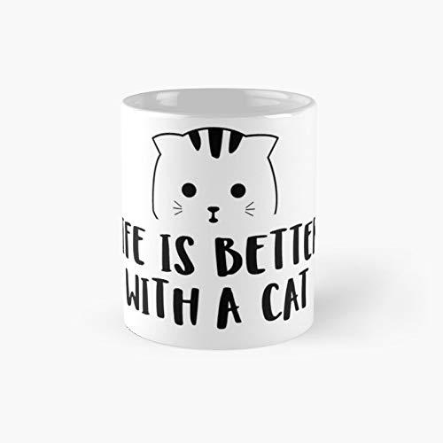 Life is Better with A Cat - Taza clásica negra | El mejor regalo divertidas tazas de café de 11 onzas