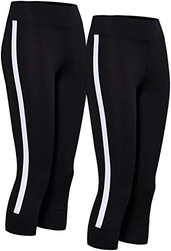 Amazon-Marke: AURIQUE Damen Sport Leggings Side Stripe Cropped, Schwarz (Schwarz & Schwarz), 38, Label:M