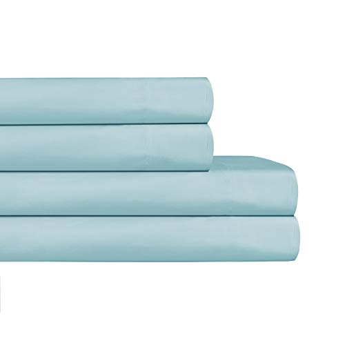 AURAA ESSENTIAL 100% Cotton Peached Percale Sheet Set - Queen Sheets - 4 Piece Set, Feather Soft, DEEP Pocket,Big Sale Days,Oeko-TEX Certified, Sterling Blue