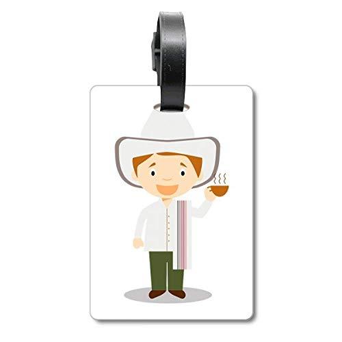 Etiqueta para maleta con diseño de sombrero blanco de Colombia