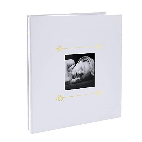 VEESUN - Álbum de Fotos para bebé con Ventana, 28 cm x 27 cm, 20 Hojas Autoadhesivas para Pegar, Tapa Dura, Libro de Fotos, Libro de Visitas, Regalo de Ducha, Color Blanco