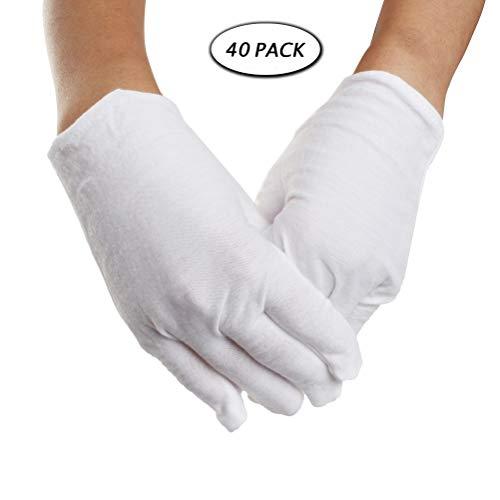 20 Paar weiße Baumwollhandschuhe, Wowot L Größe weiche Stoffhandschuhe für Männer und Frauen, Arbeitshandschuhe für Münzen und Schmuck kontrollieren