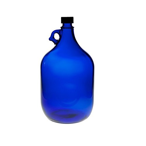 blaue XXL Glasflasche mit schwarzem Schraubverschluss für 5 Liter zum Selbstbefüllen