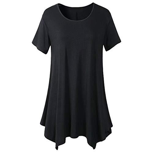 Blusen Damen Sommer Elegant Kurzarm Blusen Elegant Hemdkleid T-Shirt Loose Casual Rundhals Bluse Oberteile Blusen Damen Sommer Mode Tunika Top XL