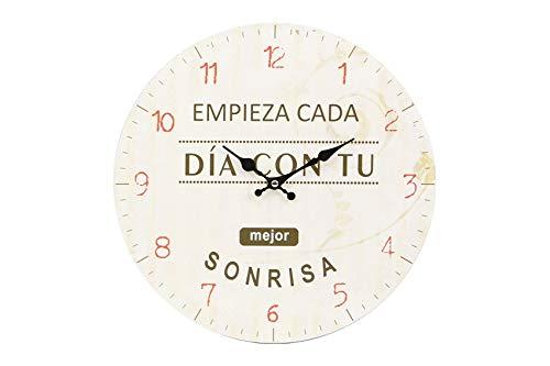 thesecrethome.es Reloj Pared Frase INSPIRADORA de diámetro 34 cm (Mejor Sonrisa)