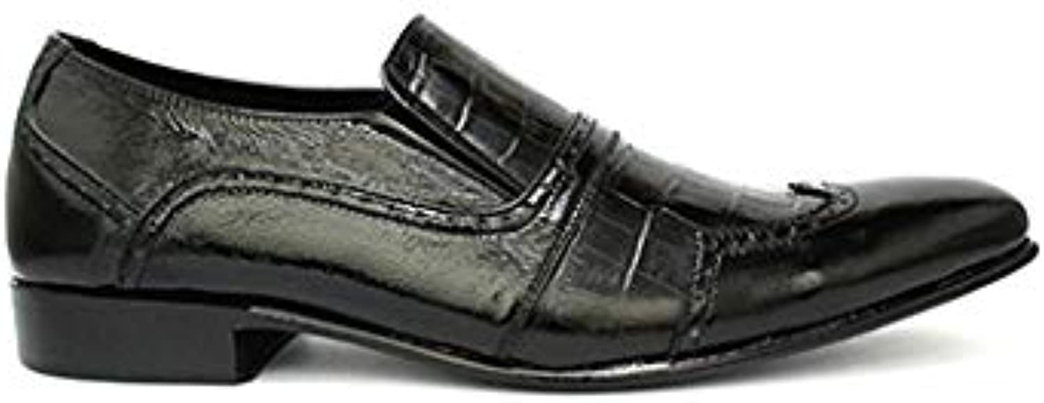 TAAVETTI Men's Casual Black Handmade Leather Mist Patent Loafer shoes