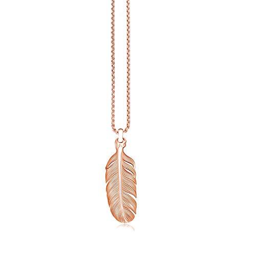 Engelsflügel Kette Schutzengel Feder flügel ohne Zirkonia Strass Lange Kette 70 cm mit Anhänger Set Halsketten für Damen Akki Rosegold