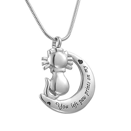 Epinki Collar para Cenizas, Acero Inoxidable Collar You Left Paw Prints On My Heart Creciente Gato Plata