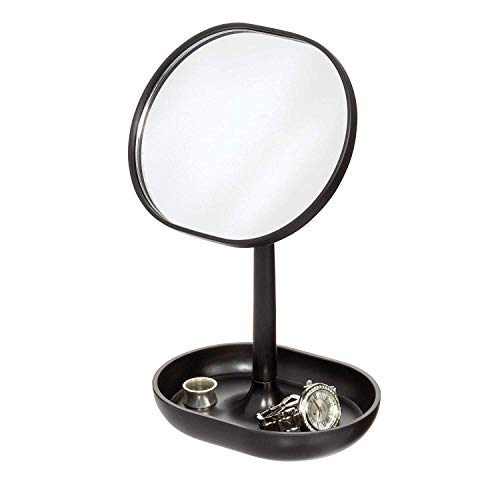 Price comparison product image iDesign Makeup Mirror,  Small and Round Dressing Table Mirror Made of Plastic,  Adjustable Bathroom Mirror with Tray for Makeup and Jewellery,  Black