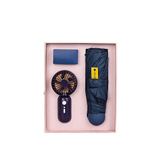 ZYCW Paraguas Plegable Automático a Prueba de Viento, Paraguas Portátil de Viaje Compacto y Resistente, 8 Armazones Reforzados, Estuche y pequeño Ventilador (Blue)