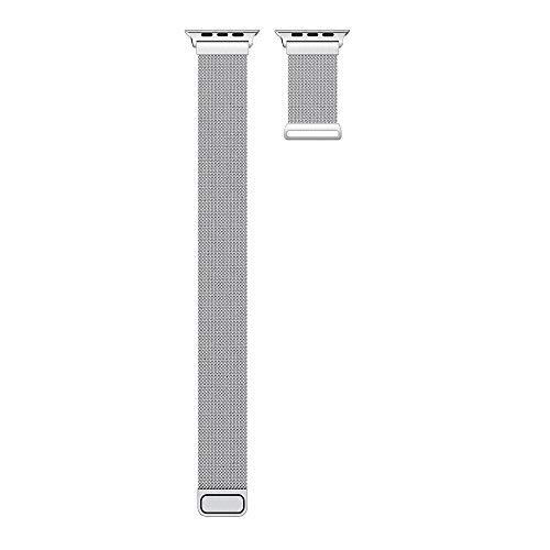 Kompatibel mit Apple Armband aus Edelstahl, 38 mm/40 mm/42 mm/44 mm, Milanaise-Stil, kompatibel mit iWatch 5/4/3/2/1, Ersatzarmband 44mm/4-5 silberfarben
