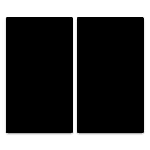 decorwelt | Herdabdeckplatten 2x30x52 cm Ceranfeldabdeckung 2-Teilig Universal Elektroherd Induktion für Kochplatten Herdschutz Deko Schneidebrett Sicherheitsglas Spritzschutz Glas Schwarz