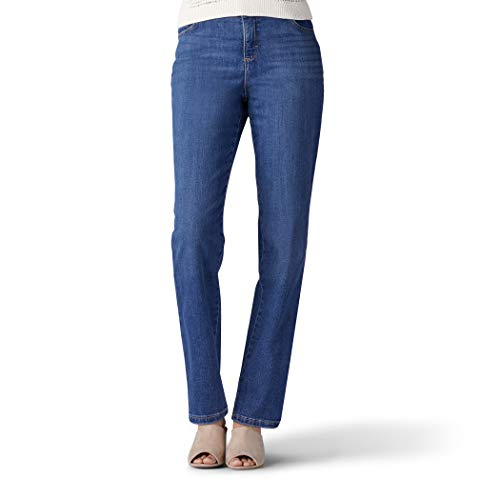 Lee Instantly Slims Classic Relaxed Fit Monroe Straight Leg Jean Jeans, Seattle Azul, Petite 44 para Mujer