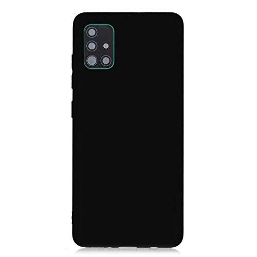 cuzz Funda para Samsung Galaxy A51+{Protector de Pantalla de Vidrio Templado} Carcasa Silicona Suave Gel Rasguño y Resistente Teléfono Móvil Cover-Negro