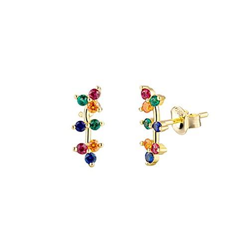 SALAN Pendientes De Botón De Ratán De Flor De Oro De Plata De Ley 925 para Mujer, Pendiente De Escalador De Oreja De Circonita Arcoíris Colorida, Joyería Fina