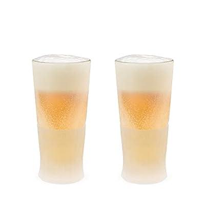 Host Freeze Beer Freezer Gel Chiller Double Wall Frozen Pint Set of 2, 16 oz, White Glass 2-Pack