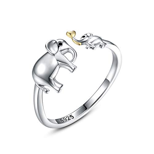 Mother Daughter Jewelry - 925 Sterling Silver Necklace Lucky Elephant Love in Heart Pendant Ring Bracelet for Women Girls (elephant Ring)