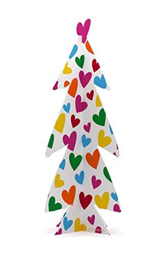 Agatha Ruiz de la Prada Árbol de Navidad Pequeño de Papel Rígido Corazones 21x43 cm - Impreso en Papel Rígido - Árbol Decorativo - Decoración Navidad - Árbol Navideño - Regalo Navidad