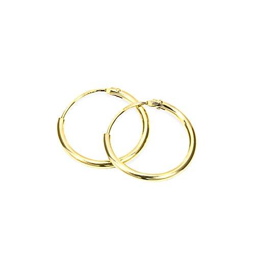 NKlaus PAAR 585 echt GOLD HERREN Creolen Ohrring Ohrschmuck Ohrhänger 15 mm 1747
