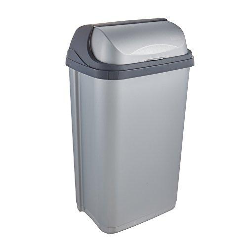 keeeper Abfallbehälter mit Rolldeckel, 50 l, Rasmus, Silber