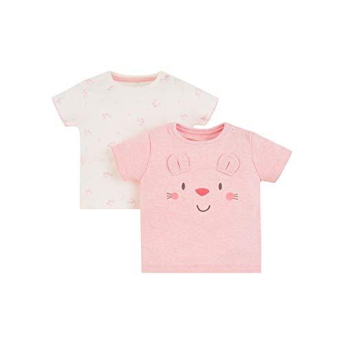 Mothercare Io Mfg 2pk SS Tshirts T-Shirt, Nero (Pink 130), New Baby (Manufacturer Size:56) Unisex-Bimbi