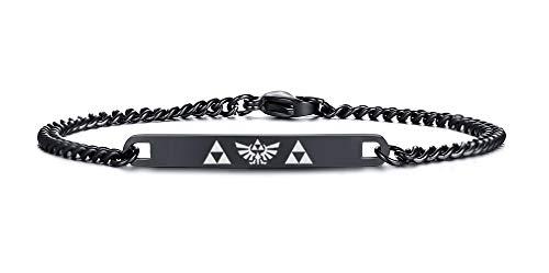 VNOX Legend of Zelda Tri-Force Symbol 7MM Black Stainless Steel Thin ID Link Bracelet for Men Women,7.5'