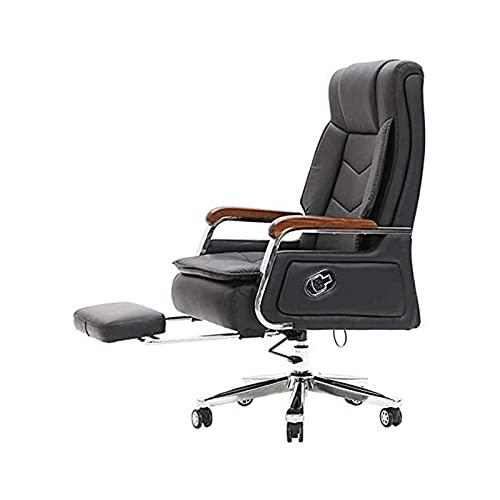 FACAZ Bürostuhl Leder Executive Bürostuhl mit Fußstütze Design Liegender Drehleiter Stuhl Computer Schreibtischstuhl für Büro Schulungsraum