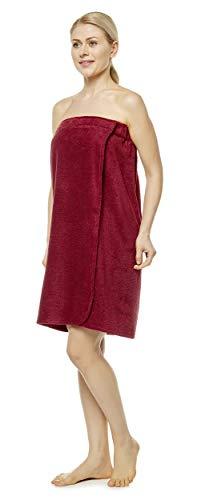 Arus Toalla de Sauna de Baño Mujer Vestido de Sauna 100% Algodón Orgánico, con Cierre de Gancho y Bucle de Banda elástica, Burdeos, Large/X-Large