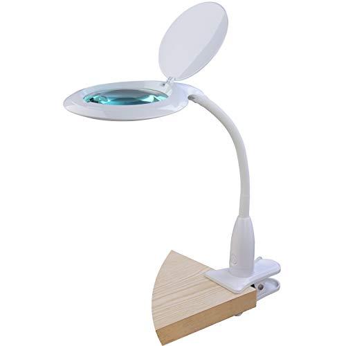 SEMPLIX LED Lupen-Tischleuchte mit Tischklemme, 60 weisse LEDs, weiß, Große Echtglas Lupe (127 mm, 3 Dioptrien), 4-fach Dimmbar