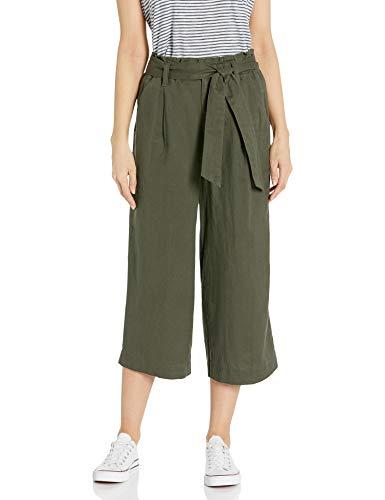 Amazon Brand - Goodthreads Women's Washed Linen Blend Paper Bag Waist Crop Pant, Olive, 12