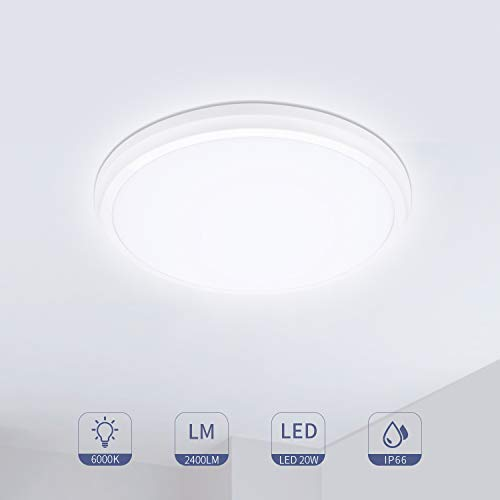Hosome Plafon LED de Techo 20W 2400LM LED Plafón 6000K Luz Blanca...