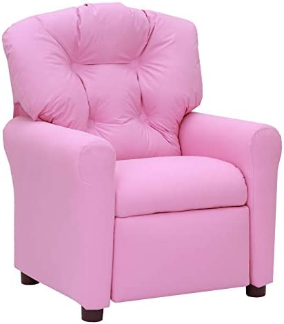 Best The Crew Furniture 649630 Traditional Kids Microfiber Recliner Chair Pink, Small, 6496301