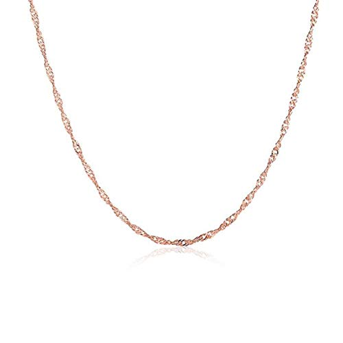 Forma de onda Joyas de estilo de Singapur Rose Gold-Plate Chain Link Chain Accesorio Venta caliente BCVBFGCXVB (Rosered)