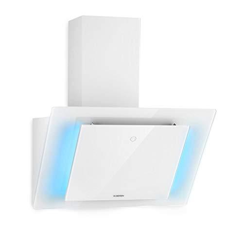 Klarstein Eleonora - Kopffreie Dunstabzugshaube, EEK A++, Abluftleistung: 426 m³/h, Touch Control, RGB-Ambiente-Farbe, 60 dB, Umluft und Abluft, LED Beleuchtung, Fettfilter, 60 cm, weiß
