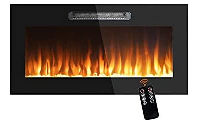 NNN Beyond Breeze 36 Inches Electric Fireplace, Recessed Electric Fireplace 750-1500 Watt Heater (60-97°F Thermostat), Log and Crystals 9 Color Cmbinations, LED Touch Screen and Remote Control