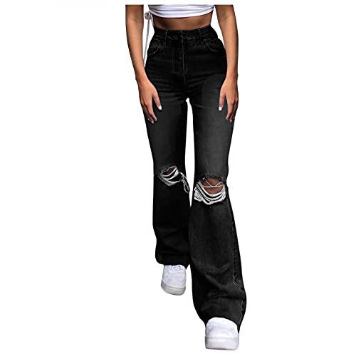 WOOHUI Pantaloni Jeans Donna Lunghi Alta Vita Jeans Vintage Strappati Larghi Ragazza Jeans Elasticizzati Jeans Sfrangiati Donna Ragazza Primaverile/Autunnale Jeans da Donna,S-XL
