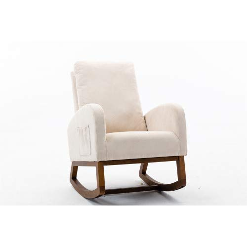 Geeky Living Room Comfortable Rocking Chair Living Room Chair Chairs (Beige)
